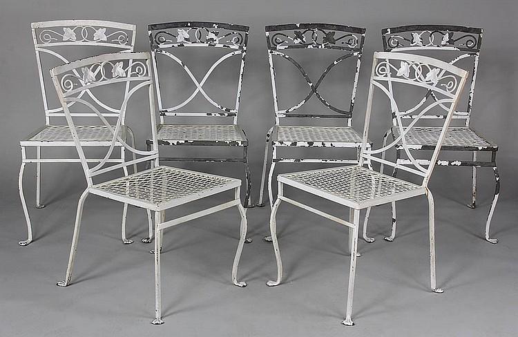 Set Of 6 Wrought Iron Salterini Patio Chairs