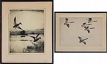 FRANK BENSON (American, 1862-1951), group of (2) etchings.