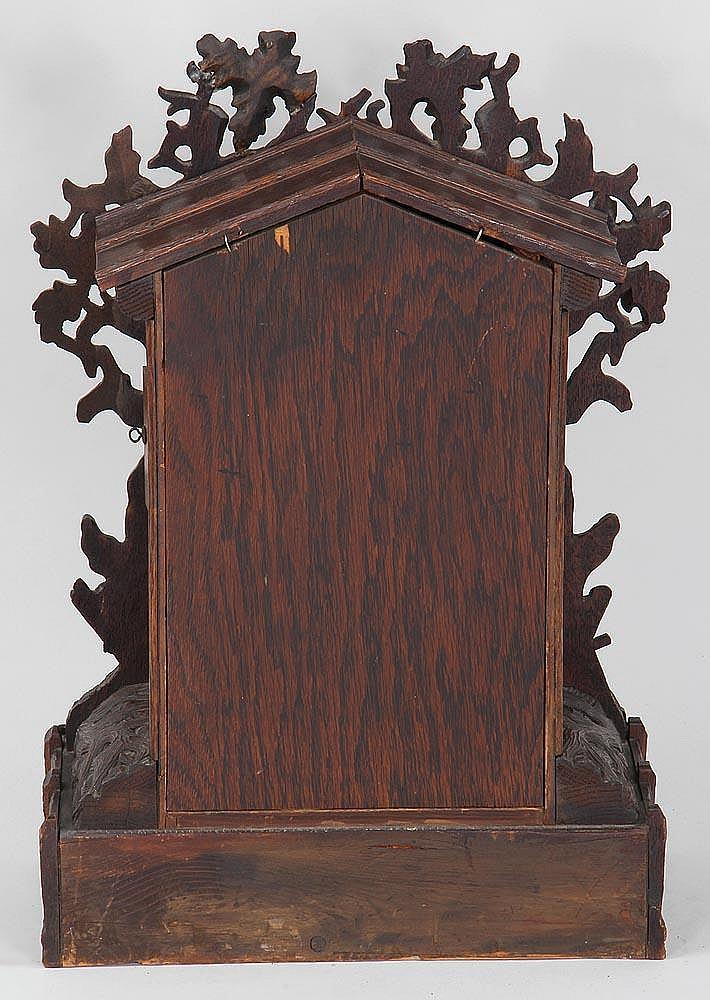 black forest carved wood cuckoo shelf clock. Black Bedroom Furniture Sets. Home Design Ideas