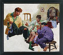 Pulp illustration of three guys