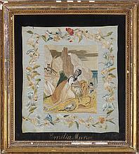 Spanish silkwork (19th century) depicting shepherd