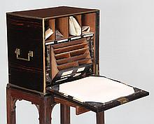 19th century English macassar ebony veneered travel desk