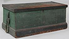 Wood ship's trunk in green paint.