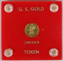 1927 gold Lincoln token by Thomas Elder