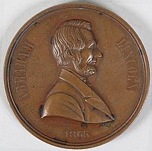 Lincoln bronze mourning medal, by W.H. Key