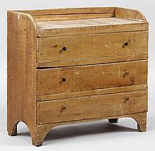 Diminutive three drawer chest in mustard paint