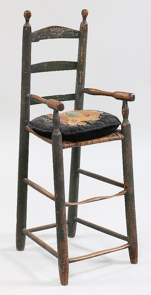 18th century american country ladder back highchair for Furniture auctions uk