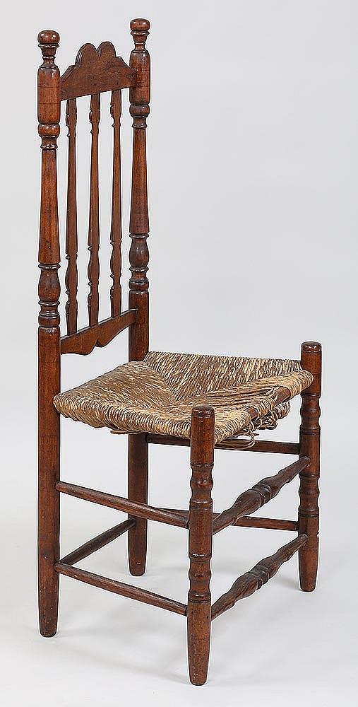 18th century american country banister back chair for Furniture auctions uk