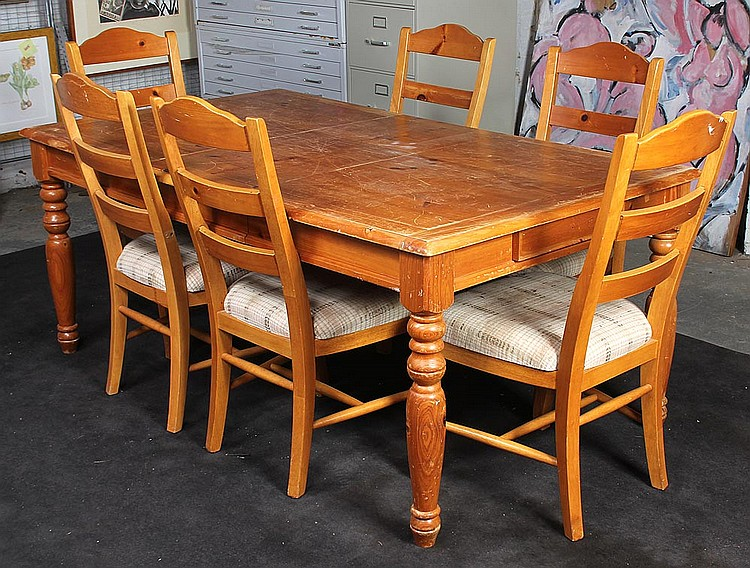 Pine dining set to include a table and six chairs : H2373 L96032811 from www.invaluable.co.uk size 750 x 568 jpeg 174kB