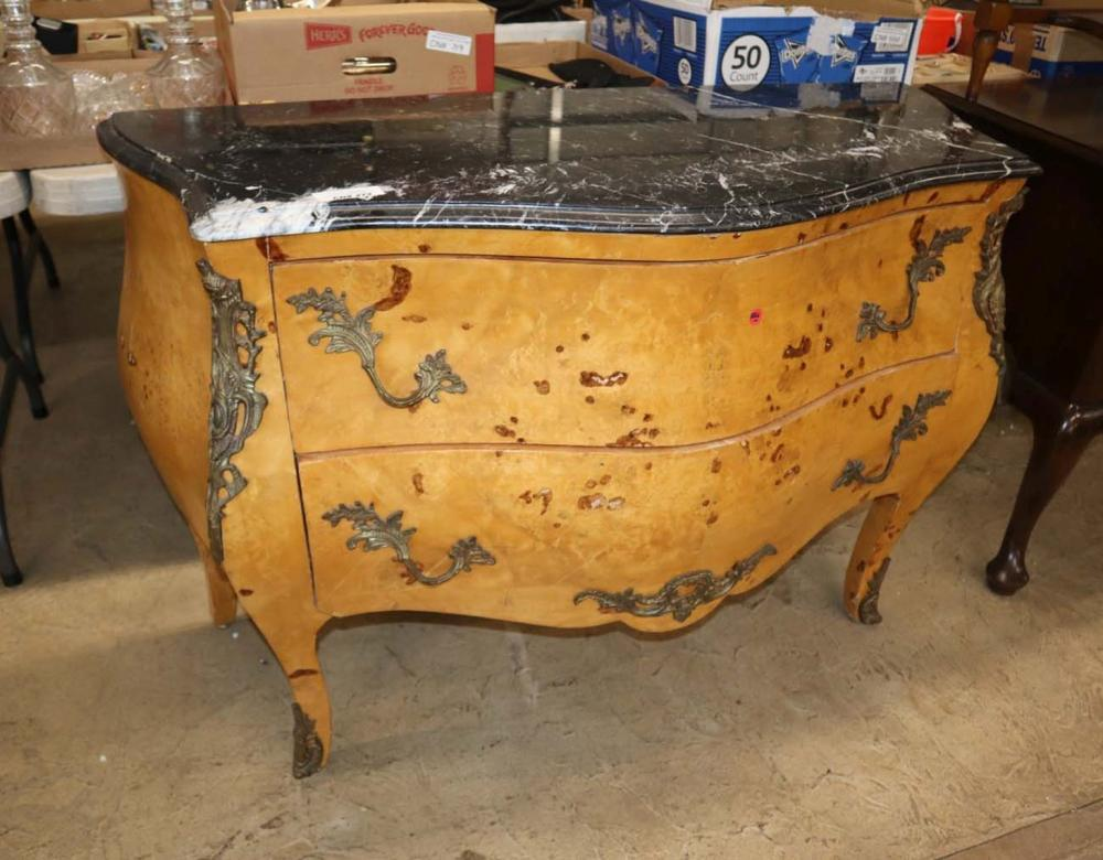French MT 2 drawer commode applied bronze