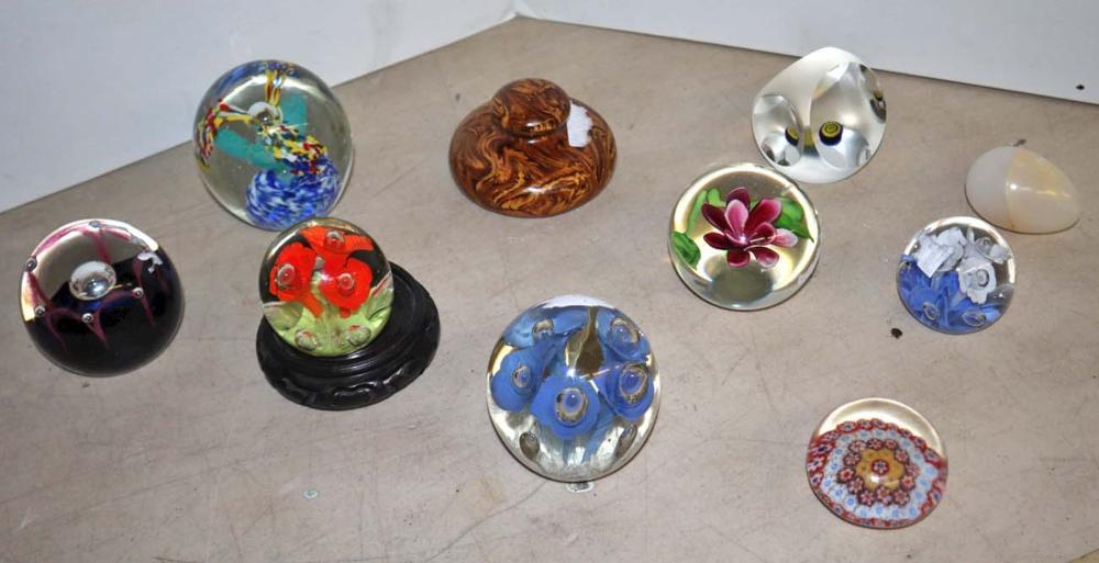 Lot of 10 art glass paper weights