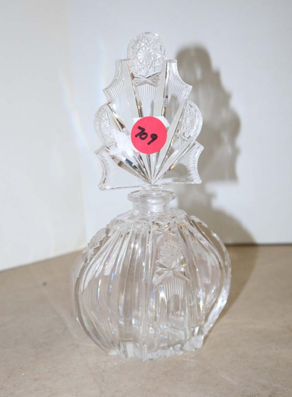 Hand cut leaded crystal FR style perfume bottle