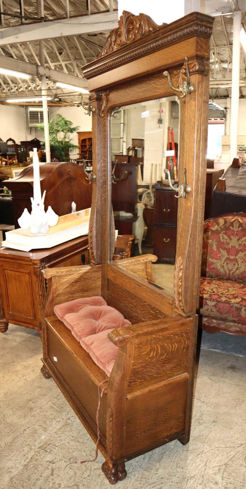 Antique oak storage base mirrored hall rack
