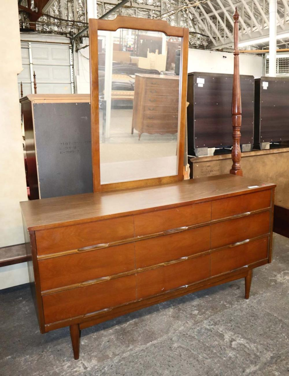 MCM Danish walnut 9 drawer dresser w/mirror