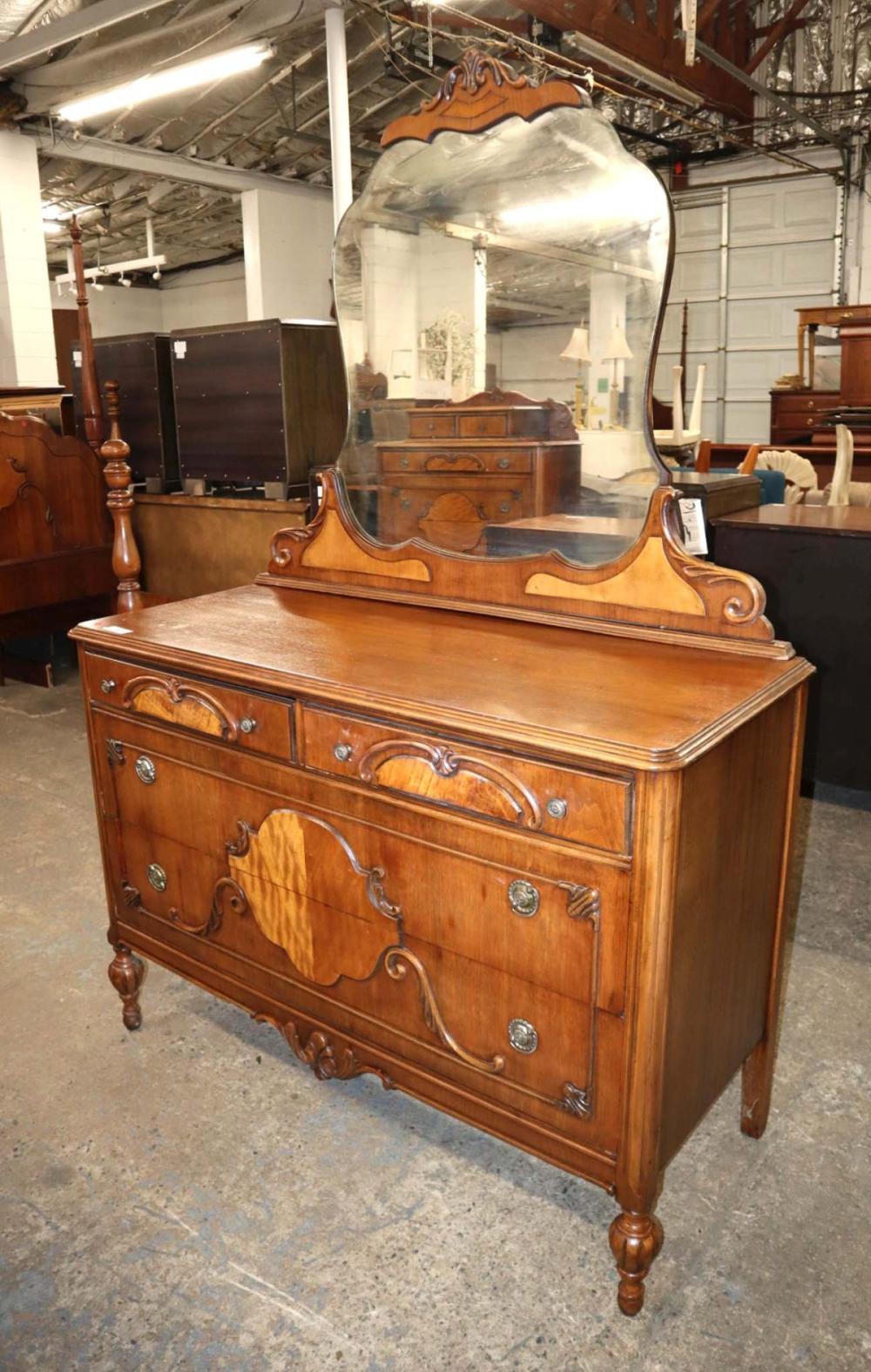 Depression 2 tone walnut carved/fancy dresser