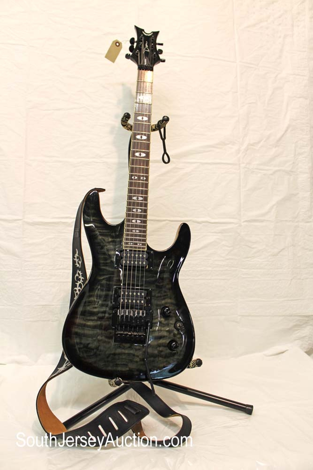 Dean Vendetta spalted finish guitar in the (greens/black), grover tuners, with strap, year unknown , s/n US07061697 in very good condition