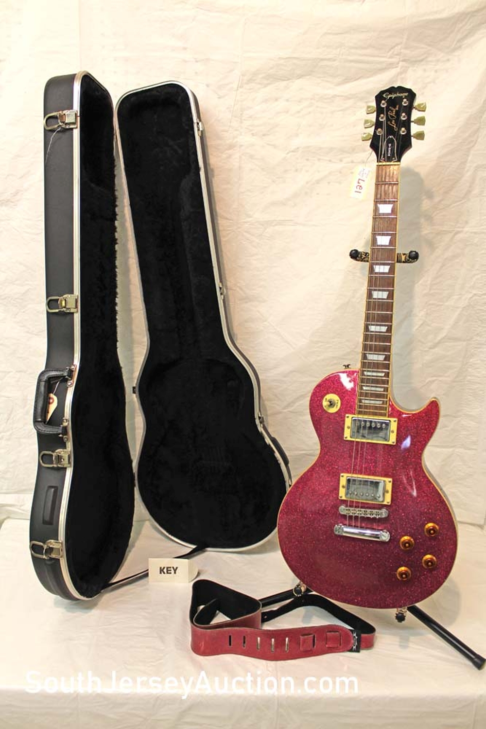 2002 RARE Epiphone Les Paul Custom Shop guitar, Gibson, made in Korea, Sparkle Pink, made by Gibson,  limited edition, set through neck with matching strap, s/n U 7021121, has chip, with hard shell SKB case, case key, all original, fair condition