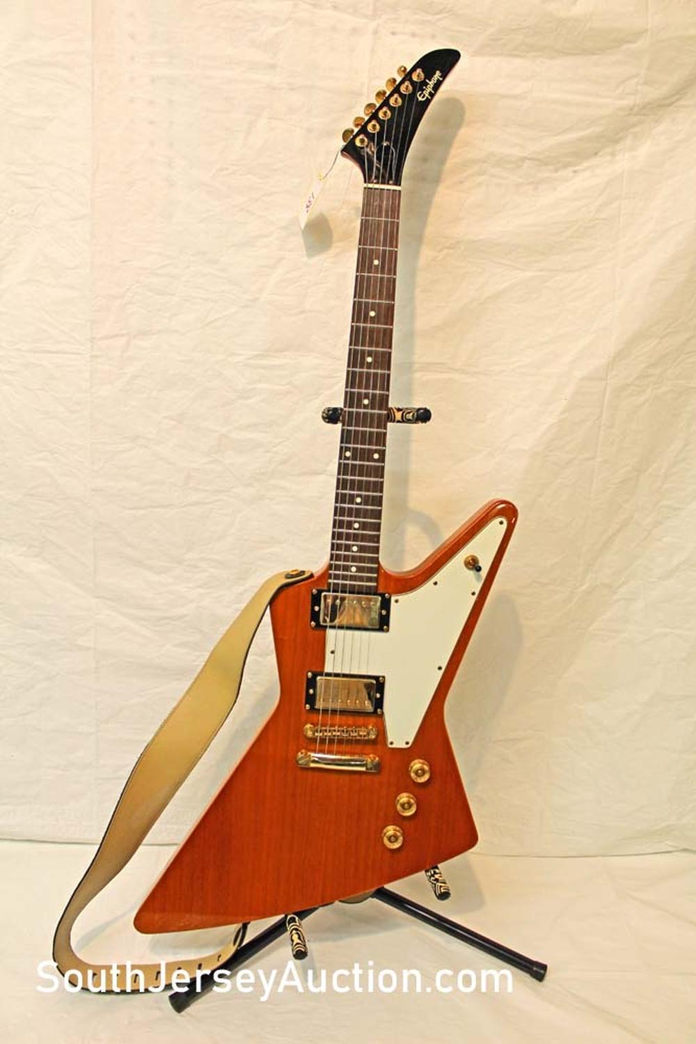 2015? Epiphone Explorer Body guitar, set neck, gold hardware, ebonized mahogany, s/n 311514250, excellent shape, all original