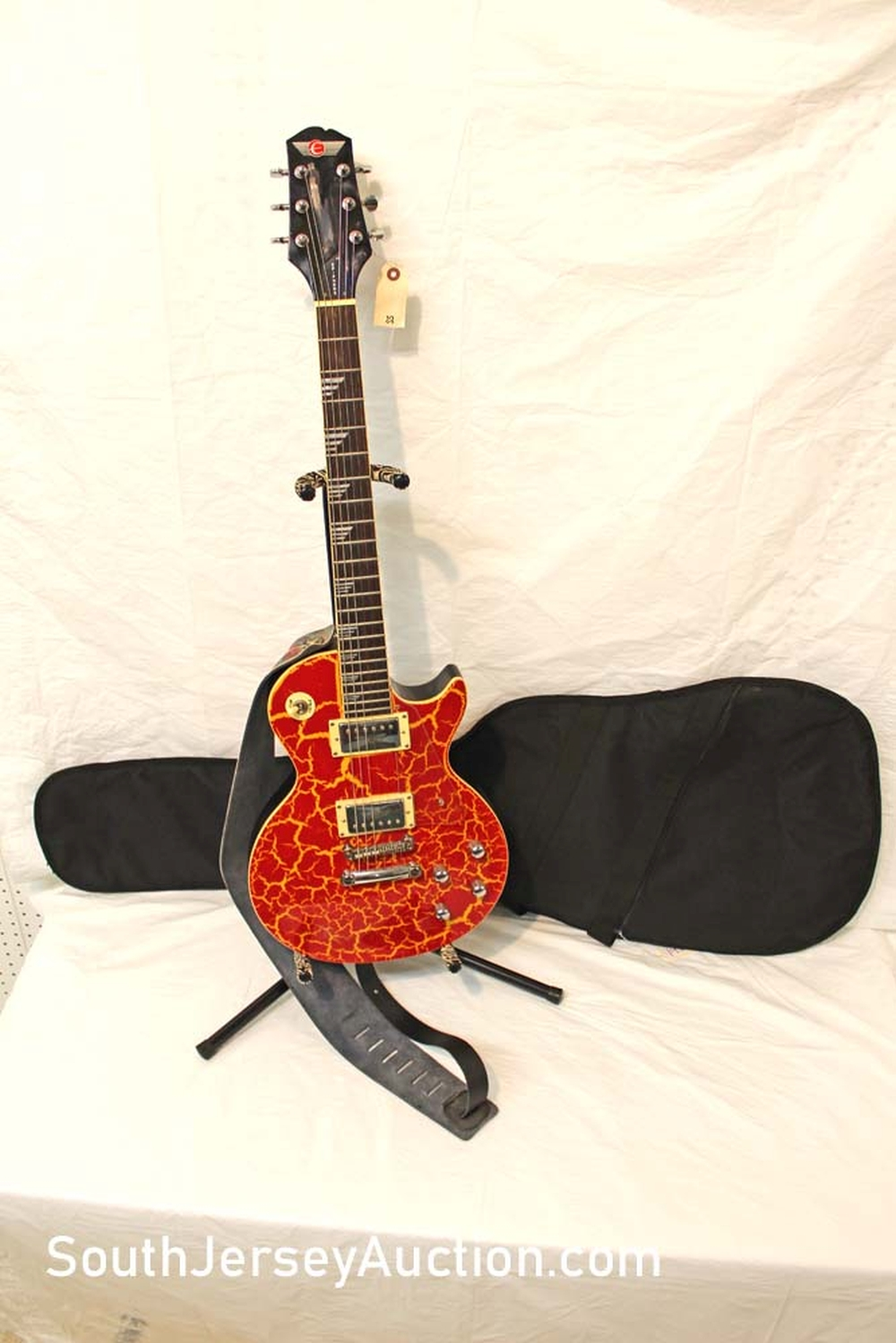 2001 Epiphone Les Paul Custom Shop Nuclear Extreme guitar in the crackle finish, with strap (nude woman), Korean made, s/n U01050299, with Kaces soft gig bag, very good condition