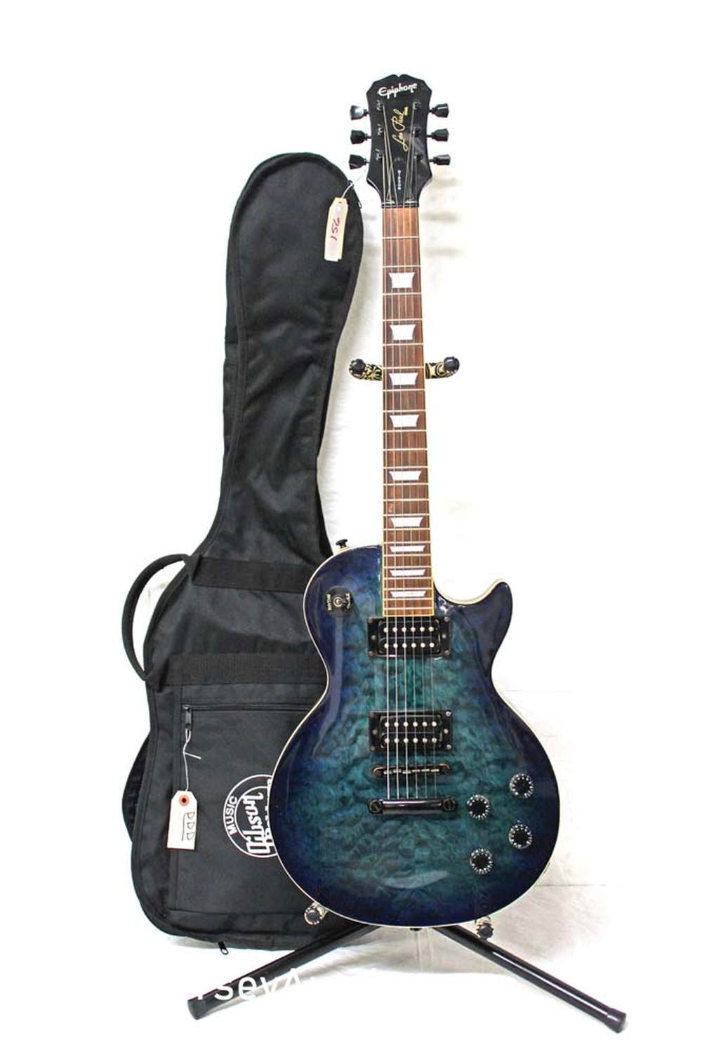 2001 Epiphone Les Paul Custom Shop birdseye maple in the blue, rosewood fretboard, s/n 101020702, some small, chips and belt wear, good condition with soft gig bag