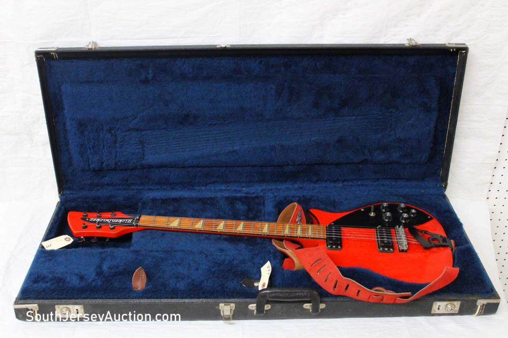 1988 Rickenbacker 620, red with black trim and painted headstock, black binding, R tail piece, all original, walnut fretboard, with molded original hard shell case, made in the USA, (no s/n) one tiny chip on headstock, very good condition