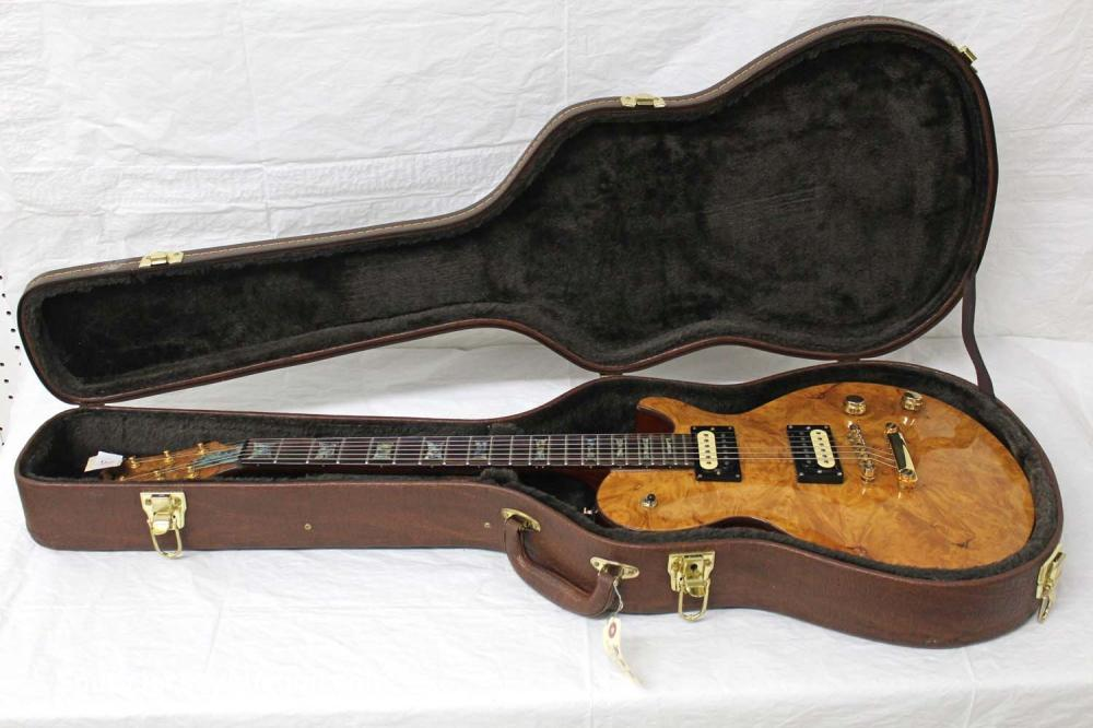 Dean Les Paul Style, year unknown, Spalted Top, Zebrano pickups, mother of pearl inlays, gold hardware, s/n us06060405 , excellent condition