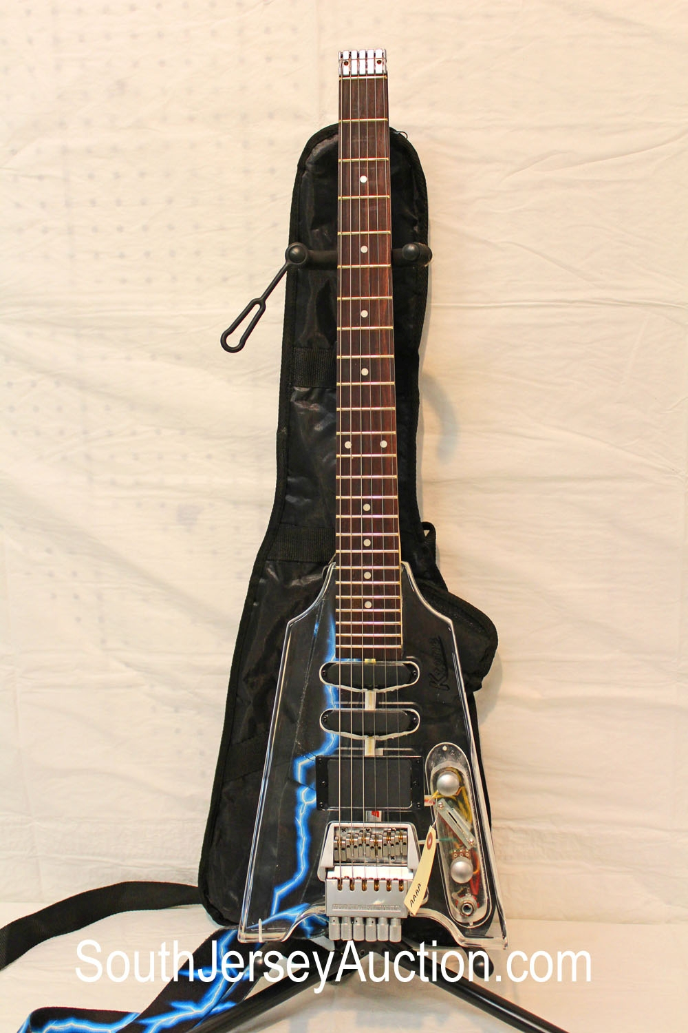Acrylic Flying V style K Tone, Steinberger Headless neck, with strap, double single single pickup, with gig bag