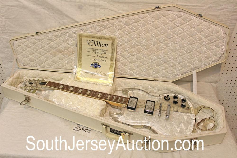 2005 Dillon (#8 of #8 made) DSG-CA Acrylic see through body with rare 'white' fitted coffin case, s/n A 05180, with strap, in good condition