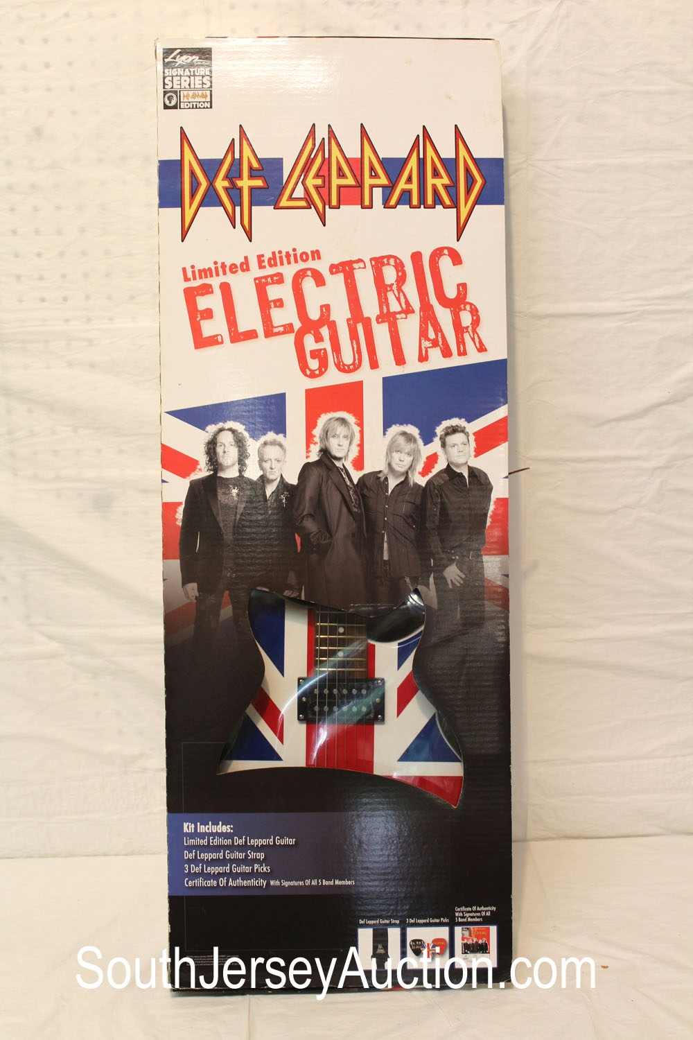 Def Leppard Electric Guitar, Limited Edition, Signature Series Union Jack, in original box unopened (never been out of the box )