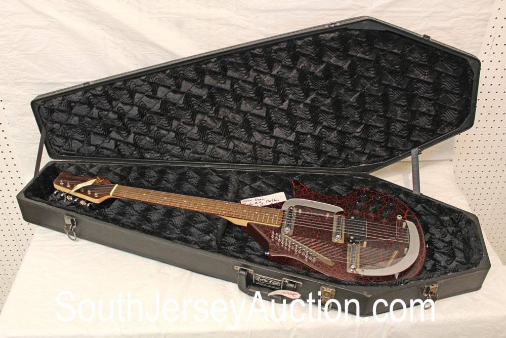 Rogue Guitar Sitar, year unknown, Rare, black and red crackle finish, very good condition, black coffin case