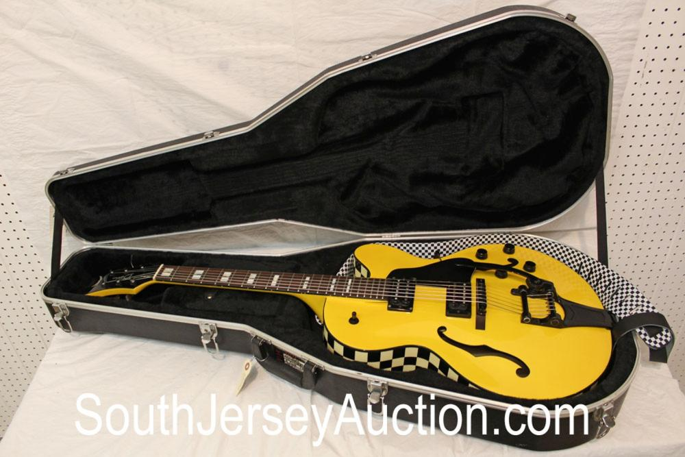 Psychobilly Billy, true full hollow body, 2004 Dean Cabbie, bigsby whammy bar, double 4 hole, with strap, very good condition, Gator hard shell case