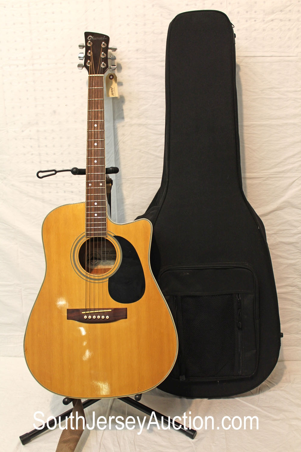 1980 Charvel Acoustic Butterscotch, s/n 001728 made in Korea, in good condition, with strap, hard side soft gig case