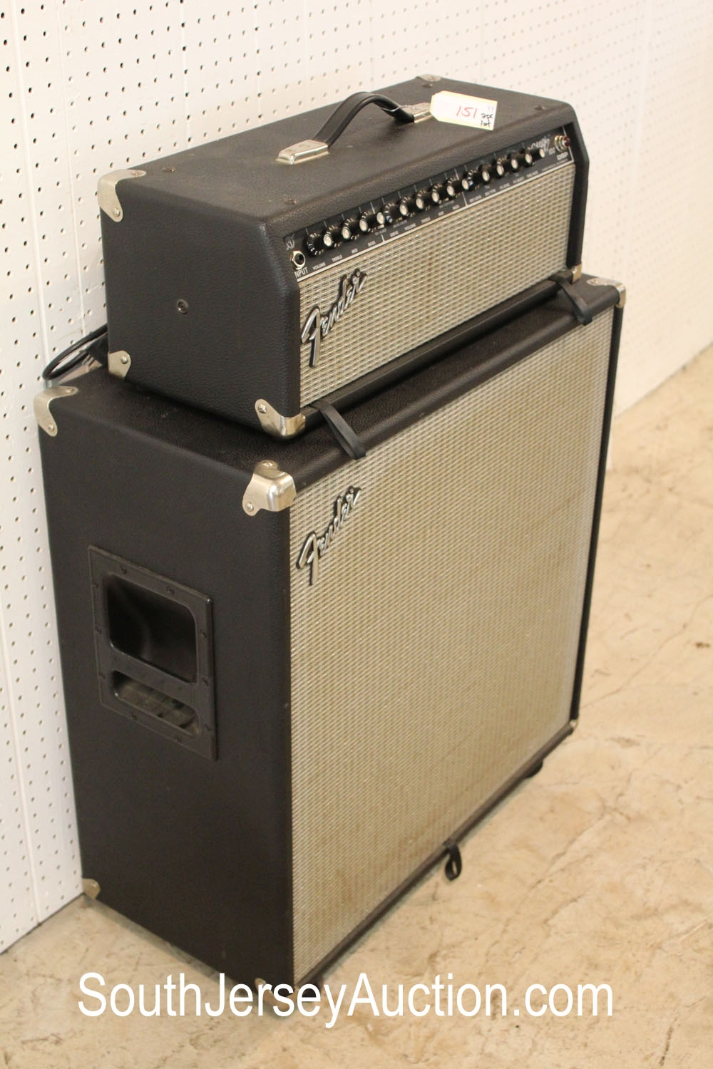 Fender Stage 100 Half Stack DSP Tube Amp, circa late 80's early 90's, working condition, (this is a 2 piece lot with matching cabinet and head)