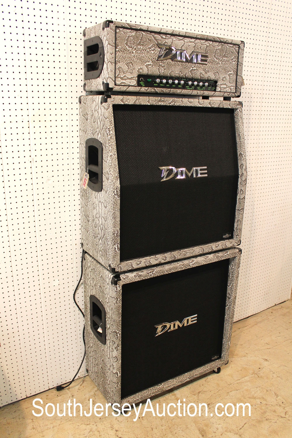 Full Stack, Dime Amplification System, Snake Skin Tolex, made in and tributed to Dime Bag Darrell from Pantera, in very good condition, #1 of #1 known, too expensive to mass produce, with manuals and original shipping packing, (3 piece lot of 2 speakers cabinets and the head)