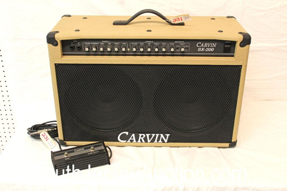 Carvin SX-200 in the tan case with foot pedal Transistor (2 twelve in speakers)