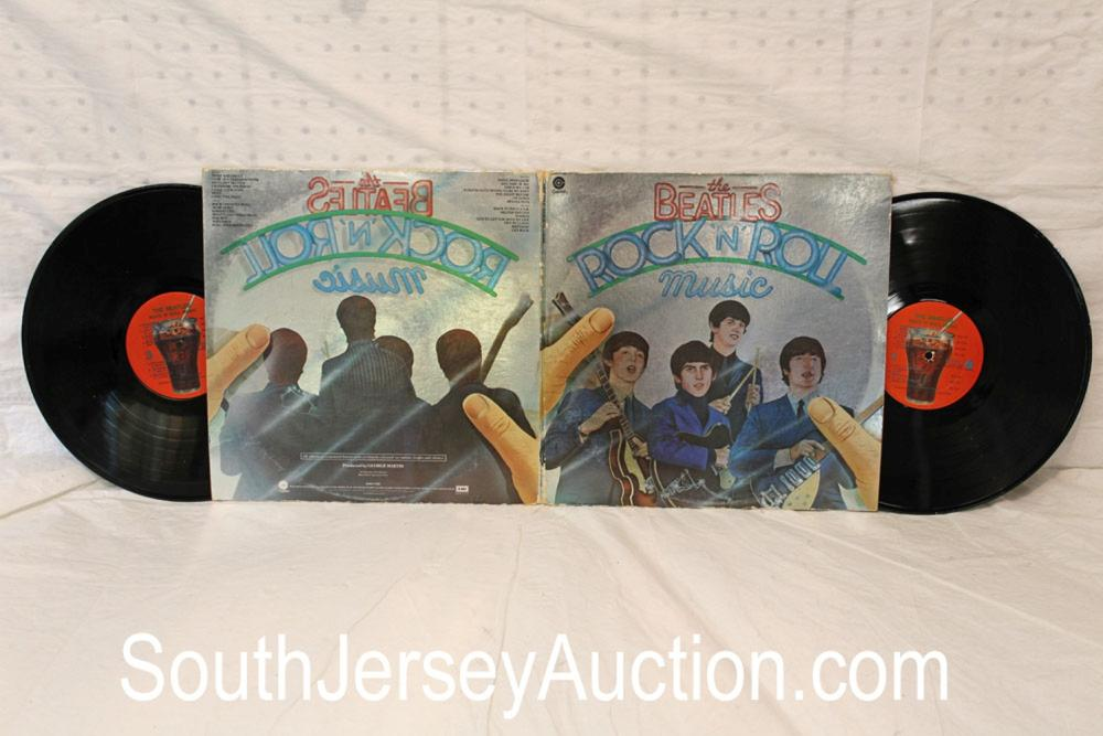 Vintage Beatles Rock-n-Roll music double album in a display frame, in good condition