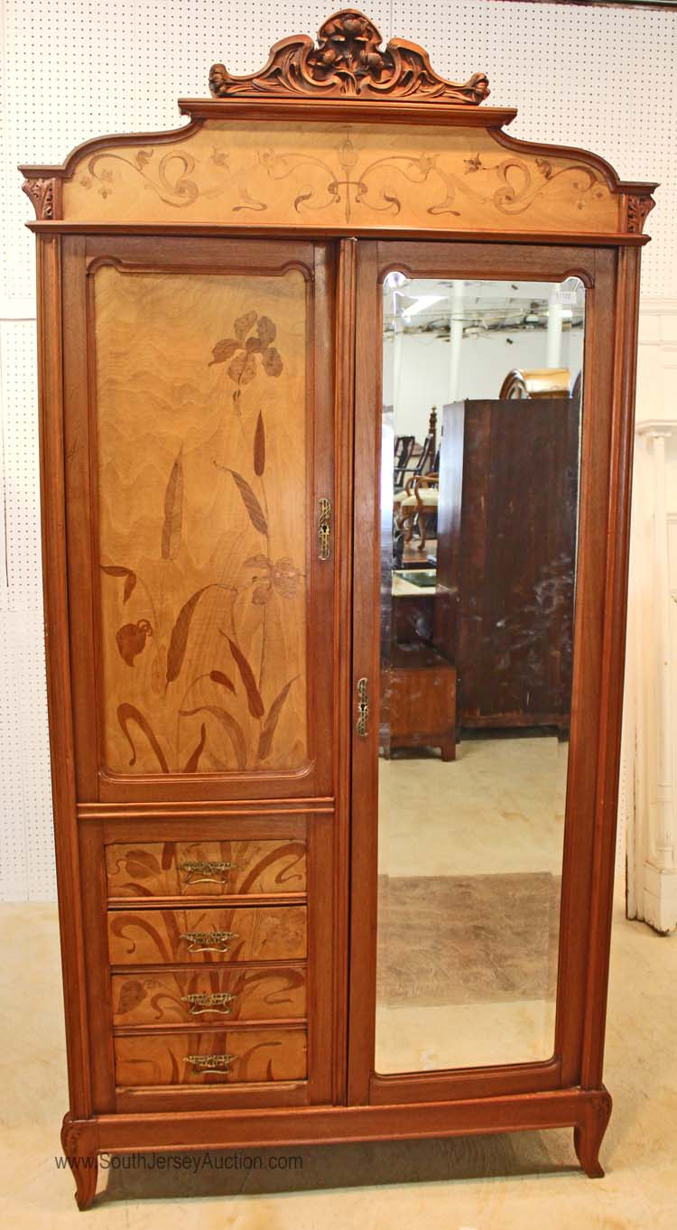 french art nouveau style 2 door 4 drawer inlaid armoire circ. Black Bedroom Furniture Sets. Home Design Ideas