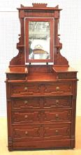 Antique Eastlake Cottage Walnut Victorian Dresser