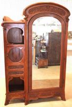 French Art Nouveau Mahogany 1 Door Mirror Gentleman's Armoire, circa 1920s