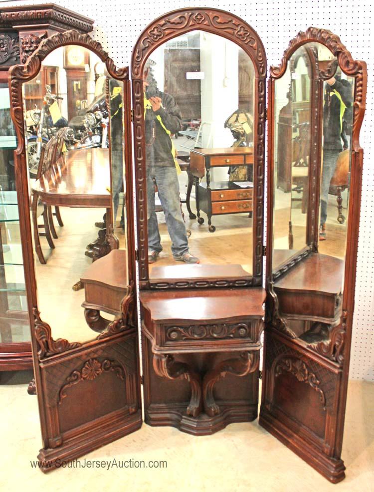 Depression walnut tri mirror carved corner vanity for Corner vanity mirror