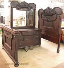 Antique 2 Piece Carved and Elaborate Mahogany Bedroom Set with High Back Bed and Dresser with Mirror