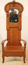 Antique Oak Hall Rack with Bevel Mirror and Lift Top Seat
