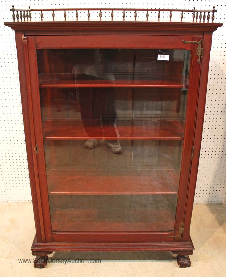 Antique Solid Mahogany Ball And Claw Display Cabinet