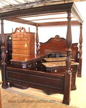 5 Piece Mahogany King Size Canopy Bed Bedroom Set with Rails