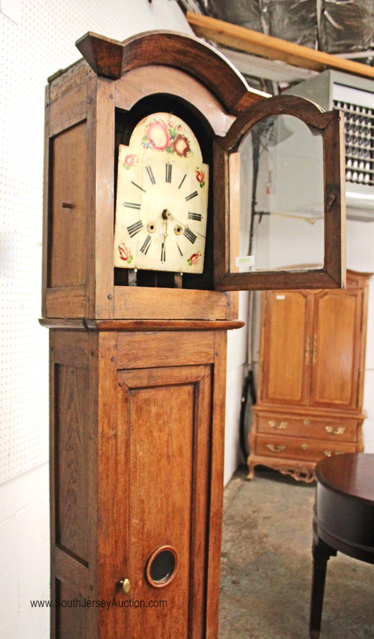 Antique Country French Mahogany Tall Case Grandfather Clock