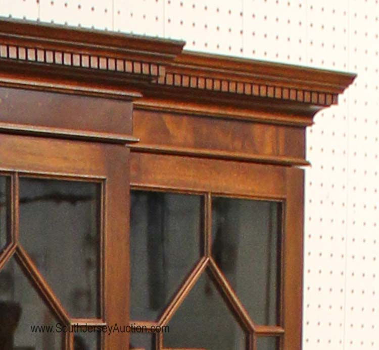 2 piece burl mahogany individual pane china cabinet by bigg for Chinese kitchen cabinets nj