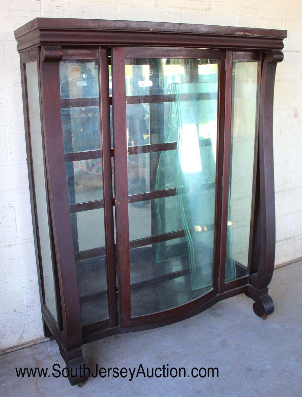 Antique Bow Front Mahogany Empire China with Glass Shelves