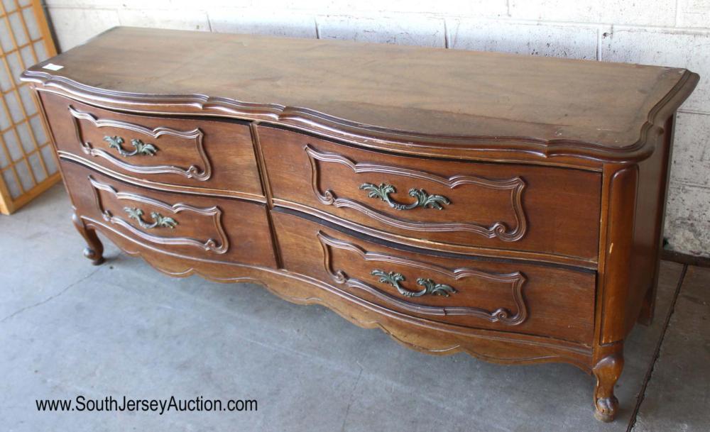 Walnut French Provincial 4 Drawer Carved Low Dresser