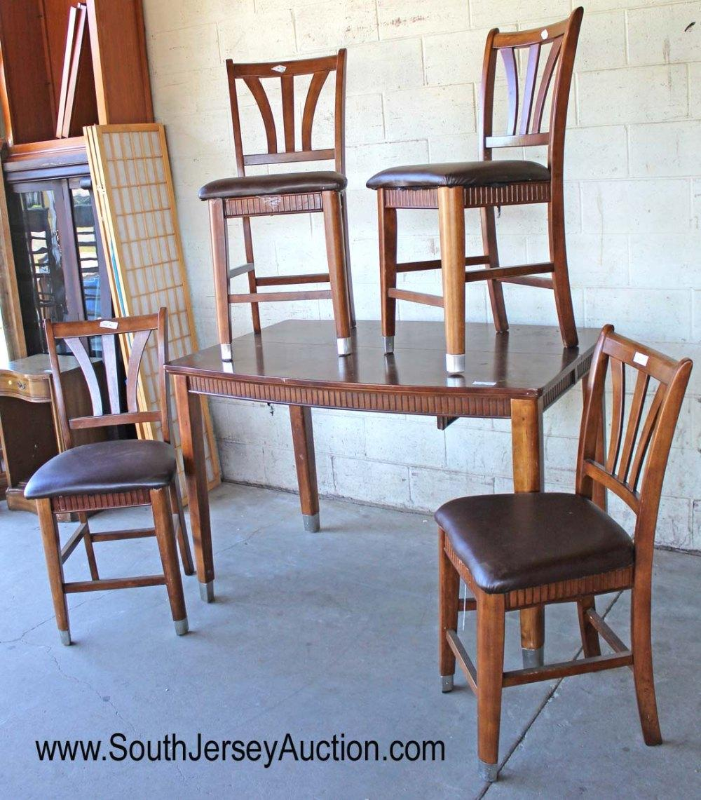 Contemporary 5 Piece Mahogany Finish Pub Table with 4 Chairs