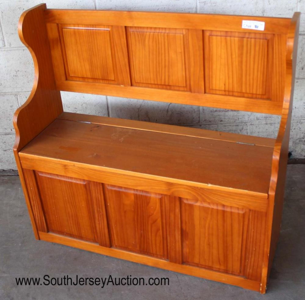 Farm Style Country Lift Top Pine Hall Bench with Storage